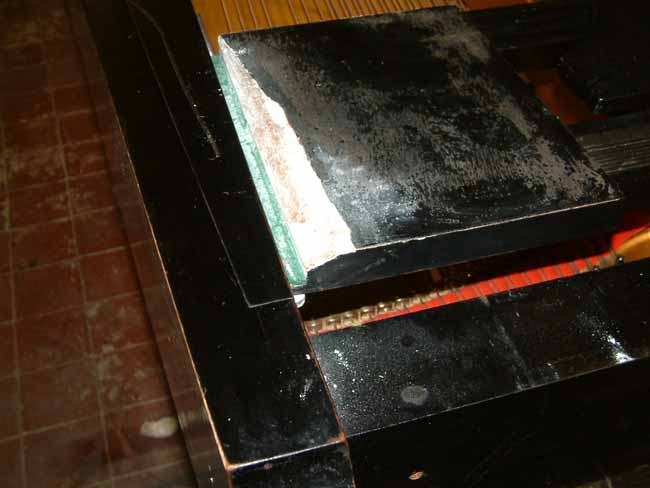 Danemann music desk before repair and polishing