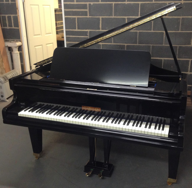 Challen 6ft grand piano re-polished in a Black high gloss finish.