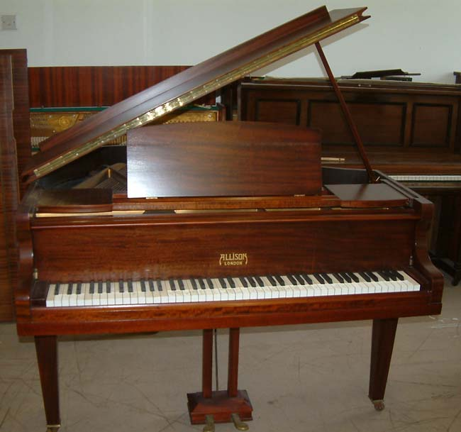 Allison baby grand repolished in a satin Mahogany finish.