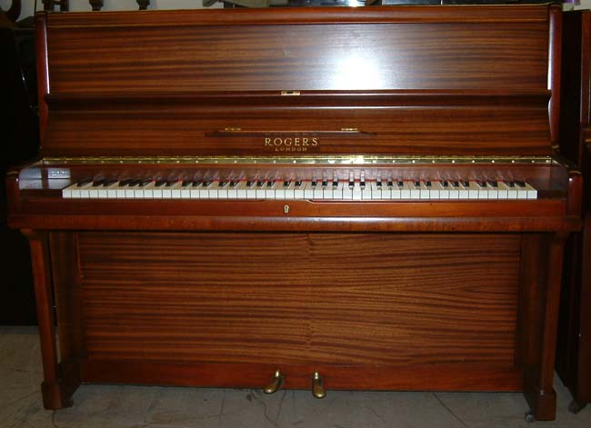 Rogers Traditional Modern style upright piano repolished Mahogany satin.